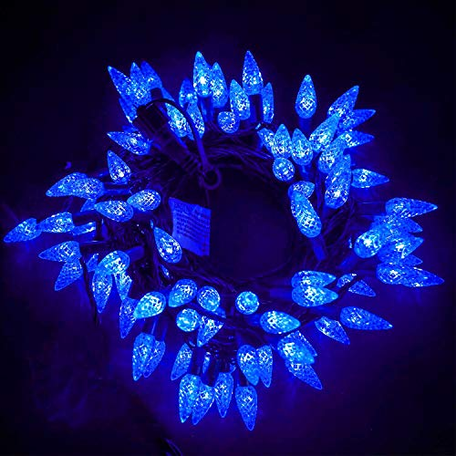 Twinkle Star C6 Christmas String Lights, 100 LED 33ft Fairy Lights with 29V Safe Adaptor, Indoor Outdoor 8 Lighting Modes with Memory Function for Patio Xmas Tree Wedding Party Decor, Blue