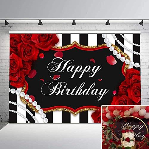 Avezano 2,1 x 1,5 m, diseño de rosas de flores y perlas de color blanco y negro para niñas y mujeres, cumpleaños, decoración de fiesta de aniversario