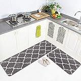 Carvapet 2 Pieces Microfiber Moroccan Trellis Non-Slip Soft Kitchen Mat Bath Rug Doormat Runner Carpet Set, 20'x63'+20'x31', Grey