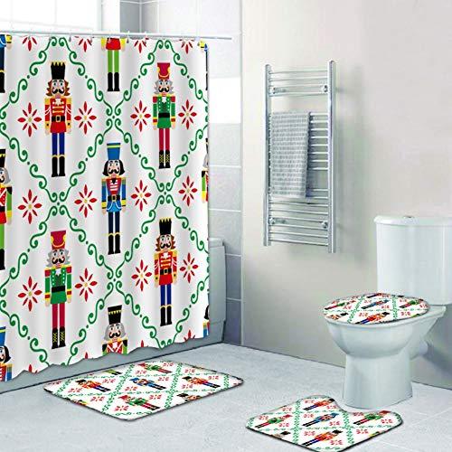 Frohe Weihnachten bedruckte Dusche Set Weihnachten Nussknacker Ritter Muster Duschvorhang Badezimmer Matte Set