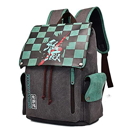MIHTAO Demon Slayer - Mochila unisex para la escuela, mochila de lona con hombros de demonio Slayer para adolescentes, elegante mochila de viaje, color turquesa