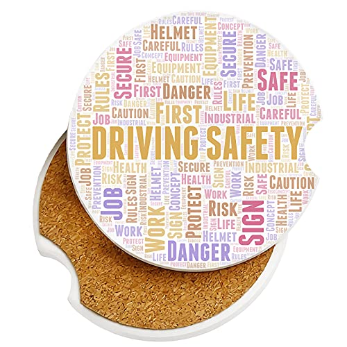 Driving Safety Word Car Coasters 2 Pack Ceramic Stone Auto Cupholder Absorbent Coaster Set Sandstone Drink Cup Holder 2.56' for Women Men