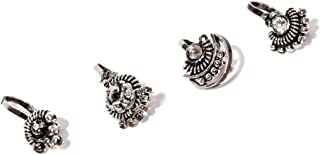 Zaveri Pearls Combo Of 4 Antique Silver Tone Adjustable Nose Pin For Women-ZPFK8232