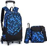 Mochila carro rodante mochila para niños, 3 piezas mochilas con ruedas desmontable de alta capacidad escaleras que suben bolsa de la escuela carro ultraligero impermeable mochila escolar de 8-12,A