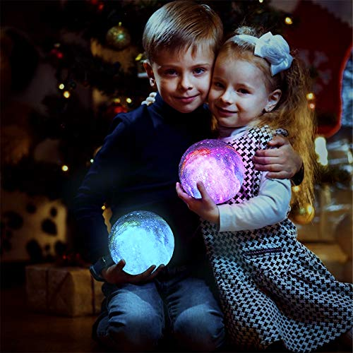BRIGHTWORLD Moon Lamp Kids Night Light Galaxy Lamp 5.9 inch 16 Colors LED 3D Star Moon Light with Wood Stand, Remote & Touch Control USB Rechargeable Gift for Baby Girls Boys Birthday 6
