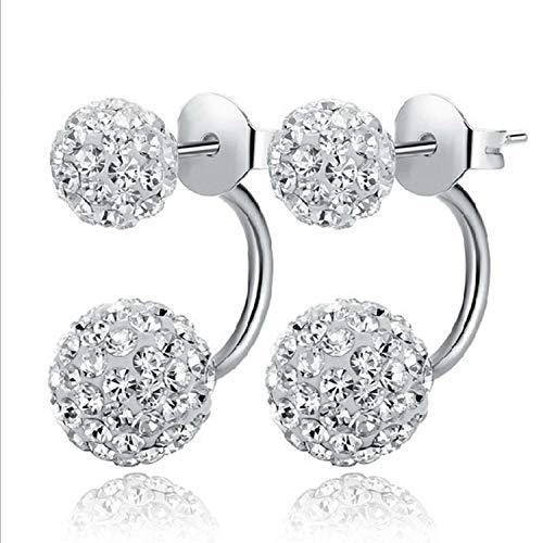 Pendientes autnticos Pendientes de diamantes de imitacin Shambhala sencillos para mujer Pendientes de diamantes de doble flash de princesa con micro diamantes-Plata 6 * 10