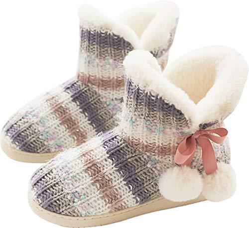 pantofole donna alte GILKUO Pantofole Donna Stivaletto Stivali Invernali da Casa Calde Peluche Stivaletti Pantofole Camera Ciabatte Alte Inverno Multicolore Taglie 35 36