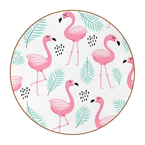 Posavasos Redondo Resistente al Calor Flamenco Rosa Diseño único y Lindo, Antideslizante de Doble Cara, para Hogar, Oficina y Cocina 11cm