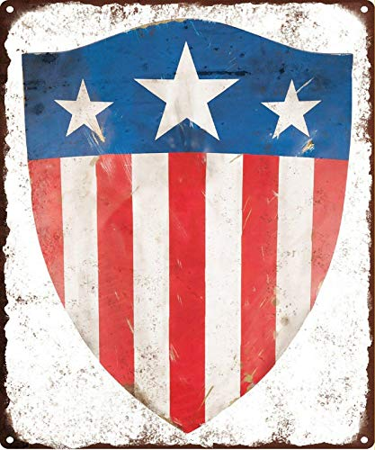 Crysss 1940'S Captain America Shield Retro Decorative Metal Sign 8x12 Inches