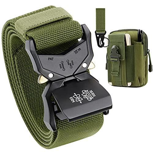 BESTKEE Cintura tattica da uomo , cintura da lavoro per impieghi gravosi, fibbia in metallo a sgancio rapido stile militare larghezza 38 mm, regalo con tasca tattica molle e gancio