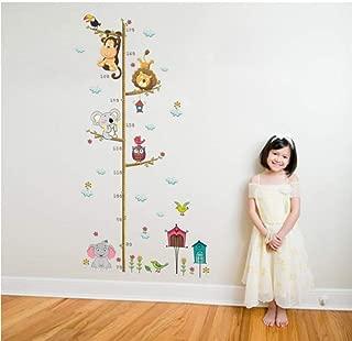 Zjxxm % Cartoon Animals Lion Monkey Owl Elephant Height Measure Wall Sticker for Kids Rooms Growth Chart Nursery Room Decor Wall Art 90x30cm