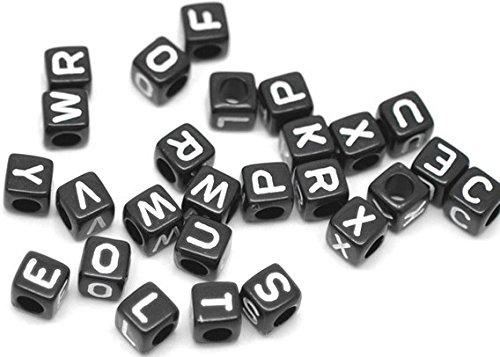 SiAura Material 500 perline acriliche 6 x 6 mm con foro da 3,5 mm, quadrate, mix di lettere nere per fai da te e infilare