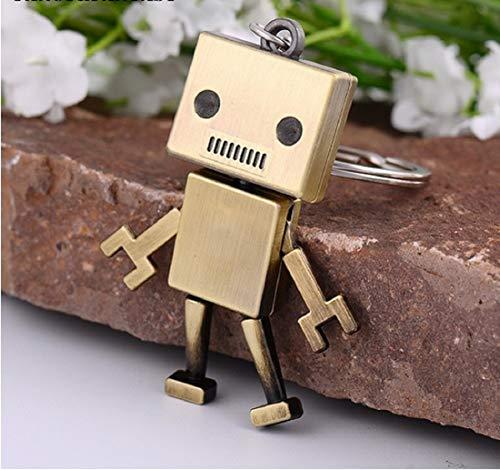 Familienkalender eckiger Roboter Schlüsselanhänger Figur bewegliche Arme und Beine goldfarben | Spielzeug | Geschenk | Kind | Männer |
