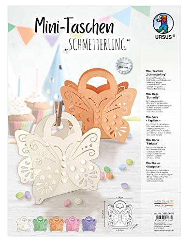 Ursus 28190099 Mini Schmetterling, Set mit Materialien für 5 kleine Taschen, aus Fotokarton 300 g/qm, gelasert und genutet, mit 5 Blatt, inklusive Bastelanleitung, Multi