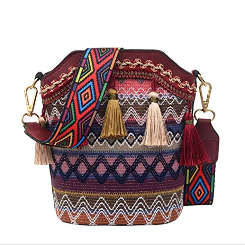 LPOQW Bolso étnico cruzado con borla, bolso de hombro tejido, para maquillaje,...