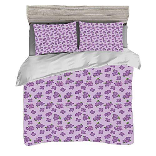 Funda nórdica Tamaño King (200 x 200 cm) con 2 fundas de almohada Decoración malva Juegos de cama de microfibra Kitsch Botany Flower Field Patter con diseño de floretes perennes,verde púrpura Easy Car
