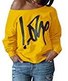 Yanekop Womens Love Letter Printed Off Shoulder Pullover Sweatshirt Slouchy Tops Shirts(Yellow,2XL)