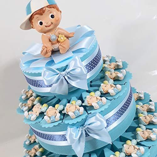 bomboniere Battesimo Nascita Bimbo Magnete confezionato a Torta o a Sacchetto Completi di Confetti al Cioccolato crispo B9295 … * (Torta 35 fette 3 Piani)