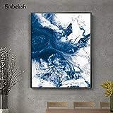 BailongXiao Cuadro En Lienzo Cartel Creativo Azul en imágenes Decorativas para la decoración del hogar de la habitación84x112cmPintura sin Marco