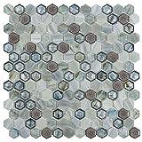 MTO0634 Modern 1x1 Hexagon Blue Green Gray Glass Ceramic Mosaic Tile (Sample Swatch)