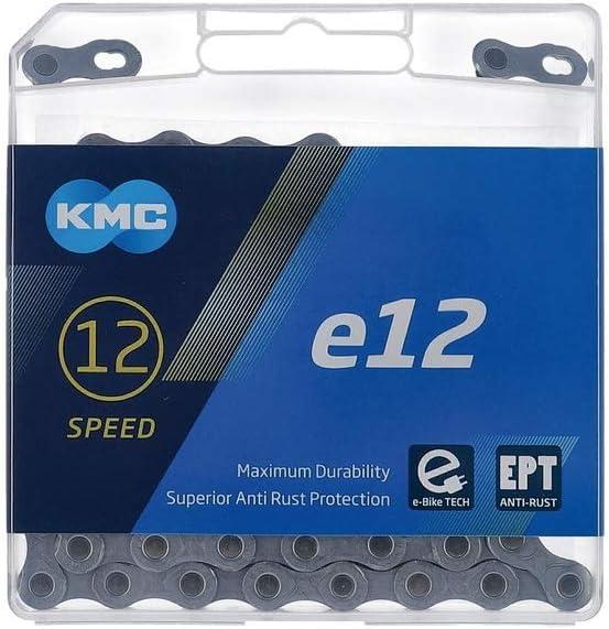 KMC Cadena de cambios unisex para adultos E12 EPT plata 1/2' x 11/128' 130 eslabones 12 vías (1 pieza)
