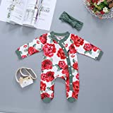 Neugeborene Baby Jungen Mädchen Blumen Strampler + Stirnband, Jumpsuit Kleidung Babystrampler, Romper Floral Body Footies Outfits Babykleidung