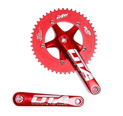 BIKECO Guarnitura per Bicicletta a velocit Singola, 170 mm, pedivella 130 BCD, guarnitura 48 Denti, per Bici a velocit Singola, Bici a Scatto Fisso, Bici da Strada, Rosso.