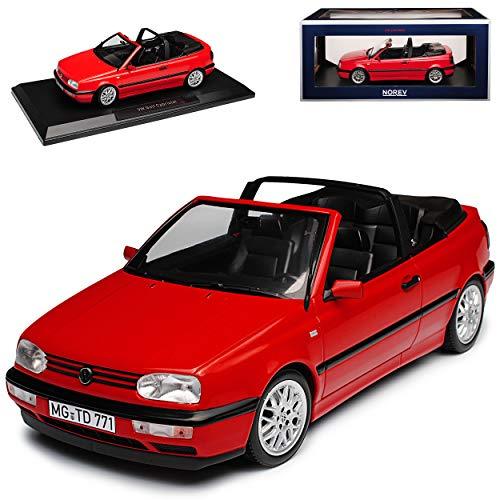 Norev Volkwagen Golf III Cabriolet Rot 1991-1998 1/18 Modell Auto mit individiuellem Wunschkennzeichen