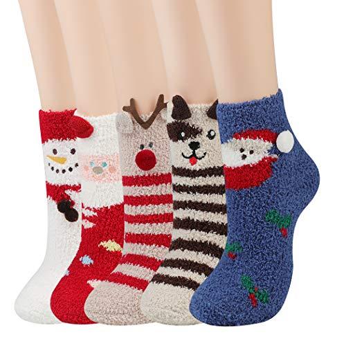JUSTDOLIFE Weihnachten Socken Frauen, 5 PCS Damen Weihnachtssocken Frauen Socken Wärme Weiche Baumwolle Socken Kuschelsocken Christmas für Winterweihnachtsgeschenke (mit 5 PCS Geschenkboxen)