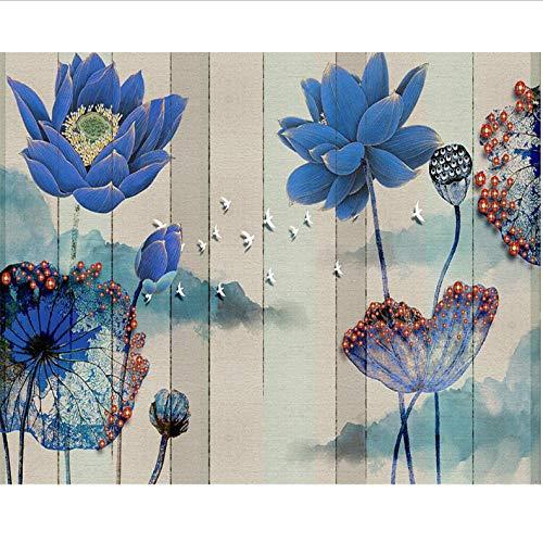 Dalxsh fotobehang met de hand geschilderde bloemen, vogel, pioenrozenbloem, rijke, moderne familieachtergrond wanddecoratie 3D wallpaper 120 x 100 cm.