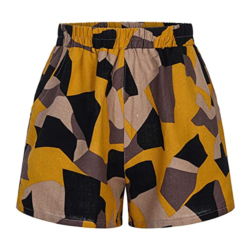 N\P Clothes Ladies Patchwork Printed Tight Ladies Shorts Casual Ladies Summer Shorts Yellow