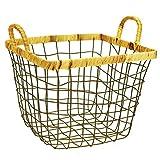 XXT-Sunshine Canasta de Almacenamiento Canasta de Almacenamiento de Hierro Forjado Canasta de Almacenamiento de residuos de Cocina Libros for refrigerios Canasta de Almacenamiento de Tejido