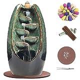Kingsglen Ceramic Backflow Incense Holder,Waterfall Incense Burner, Colorful Incense Burner with 130 Backflow Incense Cones + 30 Incense Sticks(Moss)