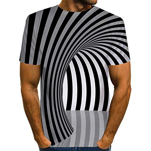 XDJSD Camiseta con Estampado De Hombre Camiseta De Cuello Redondo Camiseta De Talla Grande para Hombre Camiseta De Hombre con Estampado De Remolino De Moda Camiseta De Verano De Talla Grande