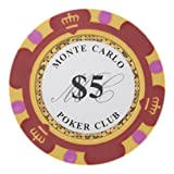 Brybelly Monte Carlo Premium Poker Chips Heavyweight 14-Gram Clay Composite – Pack of 50 ($5 Red)