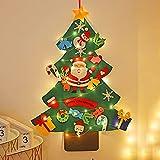 YZZR Árbol de Navidad de Fieltro de Bricolaje con múltiples Adornos navideños extraíbles Luces LED de 5 m,árbol de Navidad montado en la Pared,Adecuado para decoración navideña en cafés y hoteles