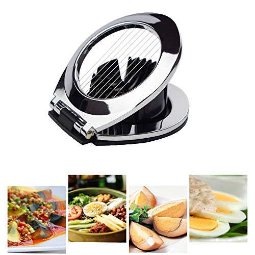 N /C 2Pcs Best Egg Slicer, Egg Quickly Smoothy Cutter, Multi Function Stainless Steel Slicing Dicer for Soft Fruit Vegetable, Non-Slip Feet,Dishwasher Safe, BPA Free (Sliver -Bk)