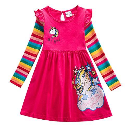 TSWRK Kleid Mädchen Prinzessinkleid Casual A-Linie Kleider Regenbogen Langarm Einhorn Print für 3-7Jahre