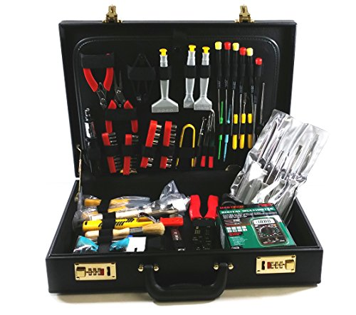 Electronics Repair Toolkit with Briefcase - Includes Digital Multimeter, Soldering Iron with Stand, Solder Reel, Desolder Pump, Wire/Cable Strippers, IC Extractor/Inserter, Screwdrivers, and More