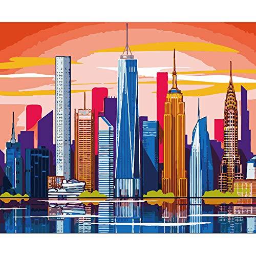 LvJin DIY Pintura Digital Hermoso Edificio, Lienzo de Color sin Marco, 20 * 26 in, Pintura de números, Kit de Pintura
