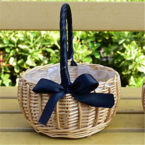 Canasta de Flores Flower Cesta Decoración Estilo rústico Ratán Tasseles Tejidos Redondos Tirotes portátiles Props Basket Flower Flower Cesta de Flores para en Casa