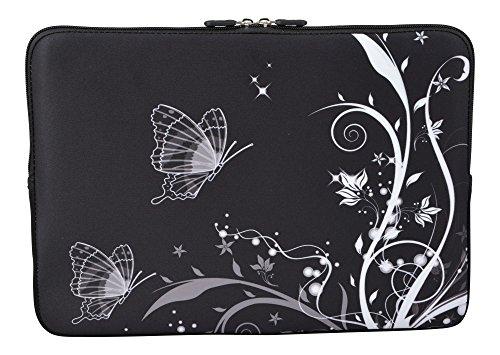 MySleeveDesign Laptoptasche Notebooktasche Sleeve für 10,2 Zoll / 11,6-12,1 Zoll / 13,3 Zoll / 14 Zoll / 15,6 Zoll / 17,3 Zoll - Neopren Schutzhülle mit VERSCH. Designs - Butterfly White [11-12]