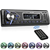 Bluetooth Car Stereo Radio Receiver,Single Din Mechless Digital Media Receiver Support FM/AM /USB/SD/FLAC/MP3/Aux-in with 7 Color Backlit,Wireless Remote Control