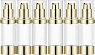 1Oz Refillable Airless Pump Bottle, Travel Lotion Container, Plastic Cosmetic Dispenser (6PCS,Light Gold)