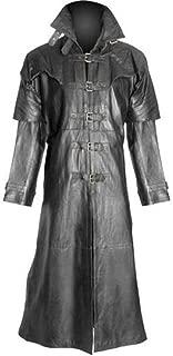 wuliLINL Mens Casual Lapel Gothic Long Leather Jacket Suit Coat Windbreaker Trench Coat