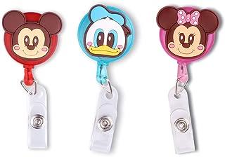3Pack Cute Lovely Cartoon Retractable Badge Reel Badge Holder ID Badge Reel Clip On Card Holders