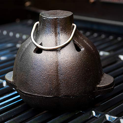 Charcoal Companion Cast Iron Garlic Roaster & Squeezer Set – for Kitchen or BBQ Grill – CC5127