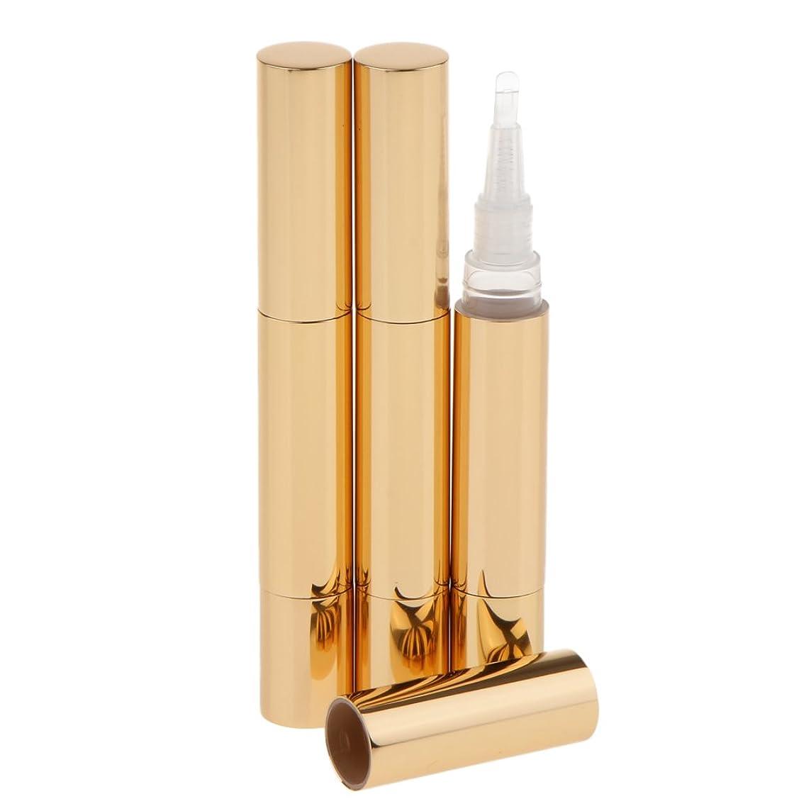 裏切り者変形する慈善Kesoto 3本 ツイストペン 5ml ツイストペン 化粧管 容器 リップグロス 詰め替え用 バイアル 3色選べる - ゴールド