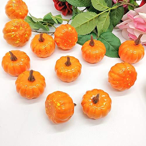Kung Fu Mall 12 STÜCKE Herbst Ernte Künstliche Kürbisse Mini Handwerk Gefälschte Frucht für Halloween Thanksgiving Hochzeit Herbst Dekoration