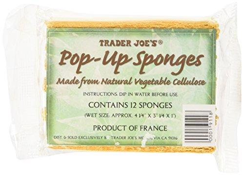 Trader Joe's Pop up Sponges Made From Natural Vegetable Cellulose 12 Sponges, 1 Pack